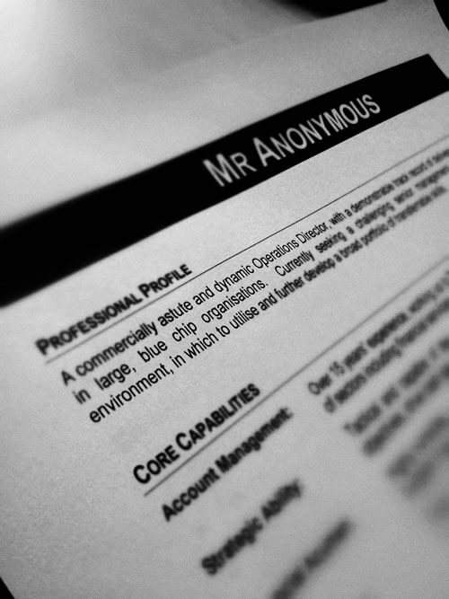 Anonymous CV with No Name