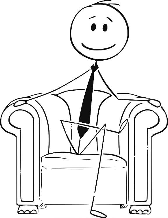Stick fugure businessman sitting