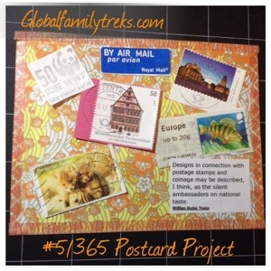 365 Postcard Project: #5, European postage stamps & a bit of Yeats