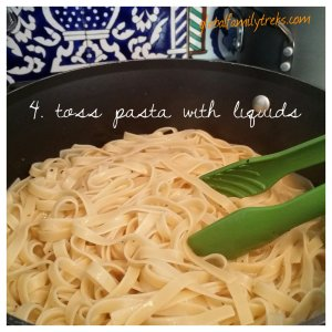 4. Toss drained pasta with melted butter-pepper-pasta water mix.  You can lower the heat at this point to low-medium.