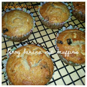 Midnight Baking: banana muffins with dried berries & almonds