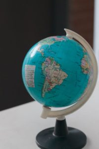 closeup photo of desk globe