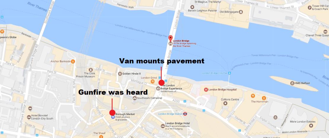 London Bridge Map.London Bridge Incident Map Breaking News Global Film Locations