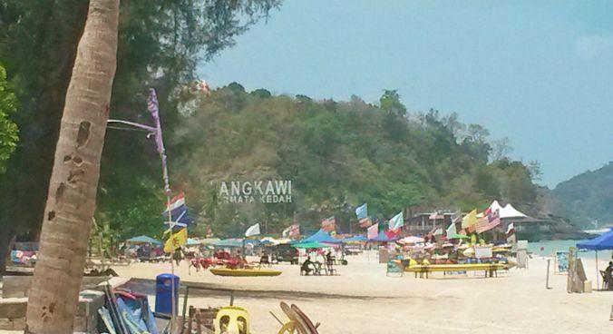 Pantai Cenang beach sign Langkawi Island