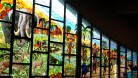 This gorgeous window depicts African abundance at the time the first European missionaries arrived in Côte d'Ivoire.