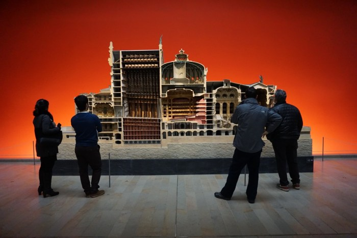 Museum visitors study Charles Garnier's model of the Paris Opera House in the Orsay Museum