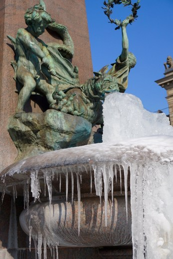 Zurich Alfred Escher Fountain Frozen Gargoyle