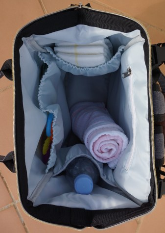 Anchored East Diaper Backpack inside with stuff