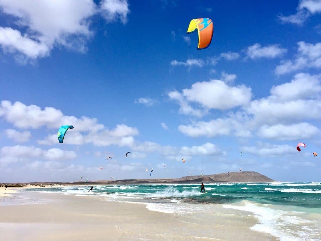Kite surfers in Cape Verde Africa