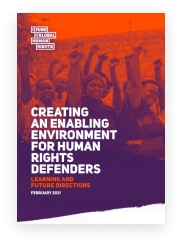 front cover of a pdf called creating an environment for human rights defenders