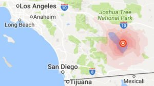 Map of California  (Many tremors daily the last few days along the San Andres fault)
