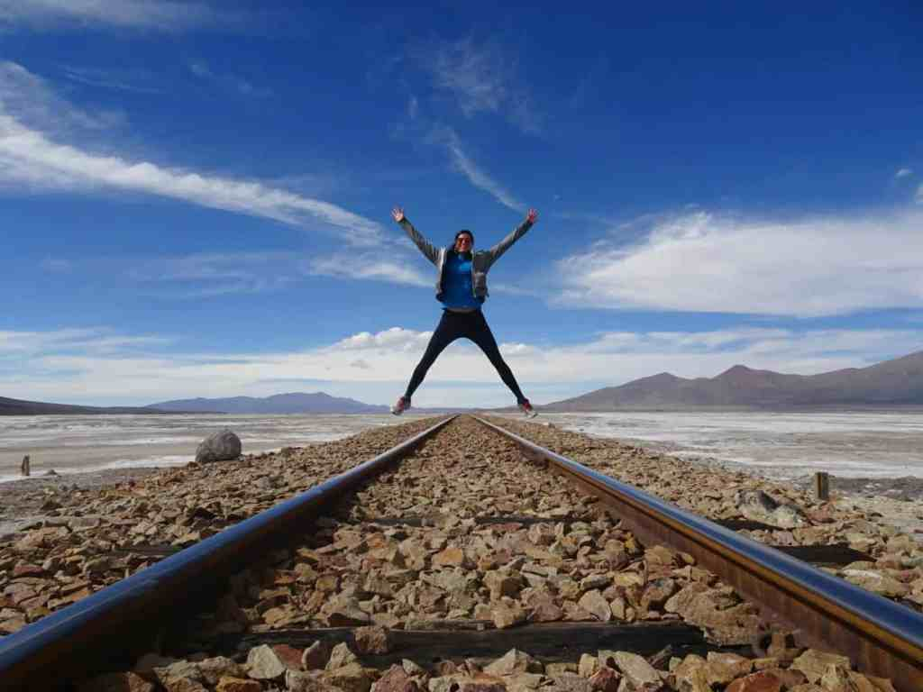 Jumping over train tracks in Southern Bolivia