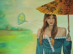 Artist: Martha De Cumha-Maluf-Burgman Title: Young Woman with Parasol