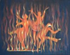 Artist: Usha Shantharam Title: Setting the Stage on Fire