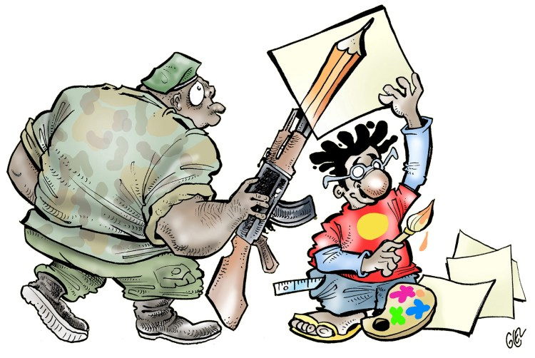 Glez's has been criticized by some African governments for his political cartoons. (Courtesy Damien Glez).