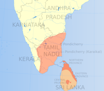 Tamil areas of southern India and Sri Lanka (Wikimedia Commons)