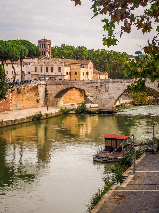 The Tiber River in Rome Italy