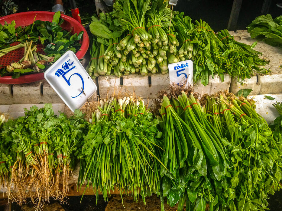 Herbs for sale at Nonthaburi Market