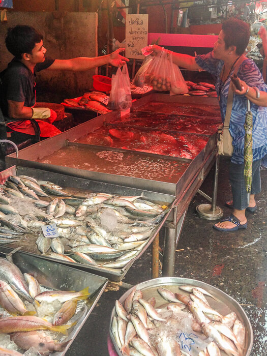 Fresh fish for sale at Nonthaburi Market