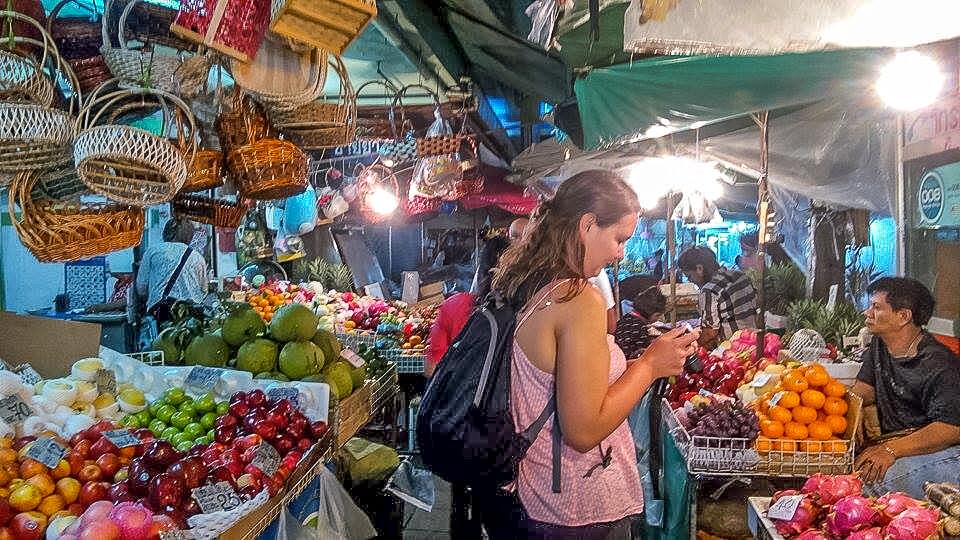 shopping in a street market in Bangkok