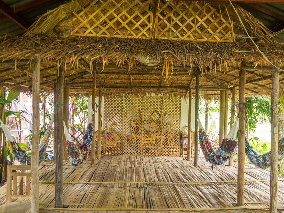 relaxing in hammocks on an organic farm in thailand