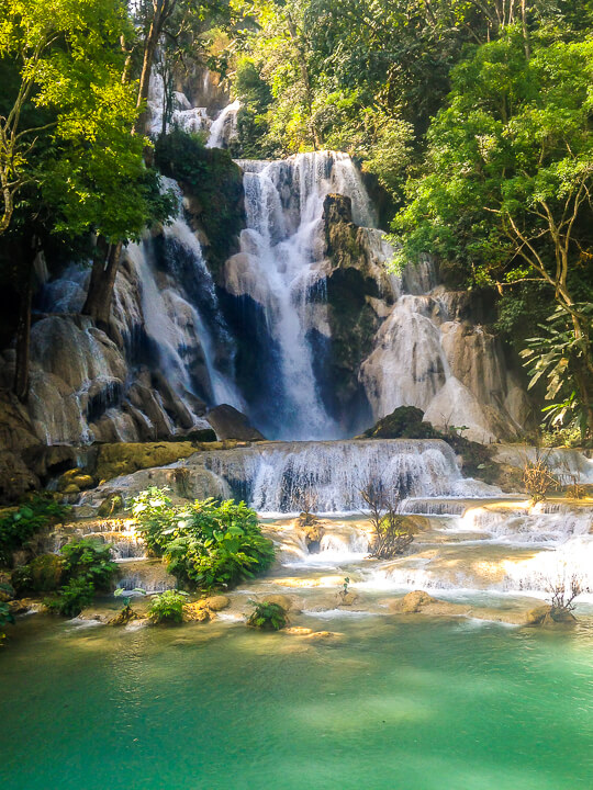 waterfall in luang prabang central laos