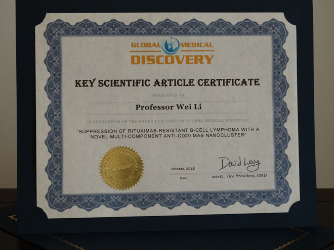 Global Medical Discovery Key Scientific Articles Certificate