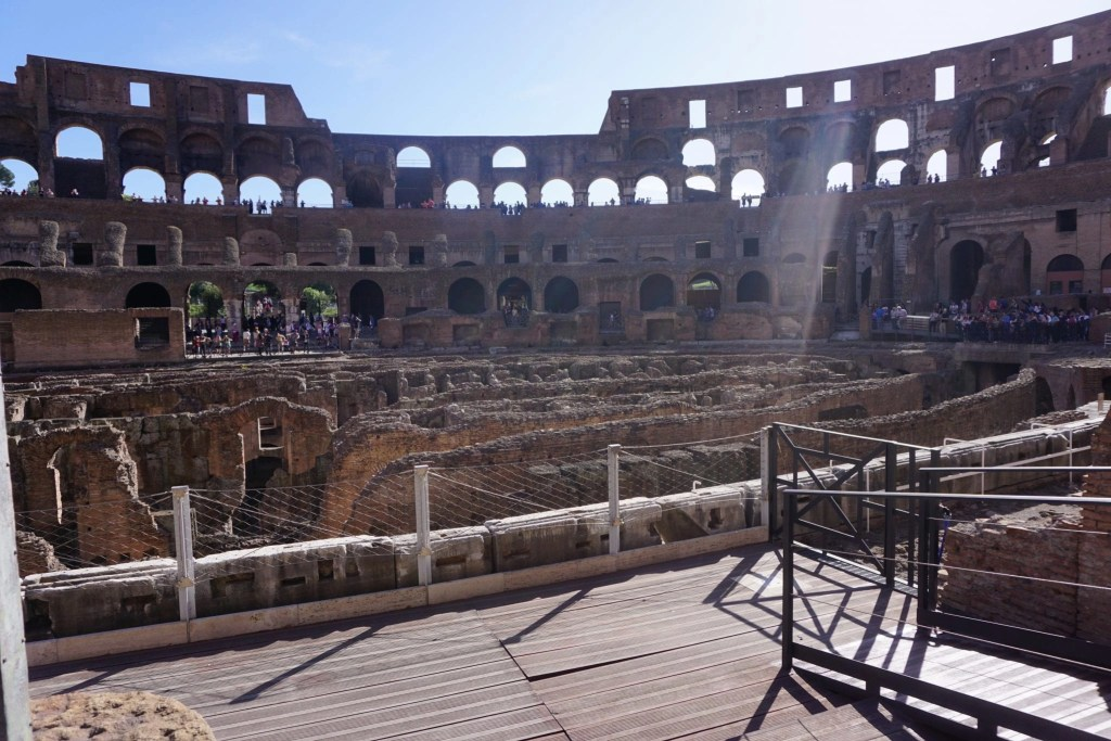 View inside the Colosseum. You can see where the floor once was and the intricate workings of the elevator system