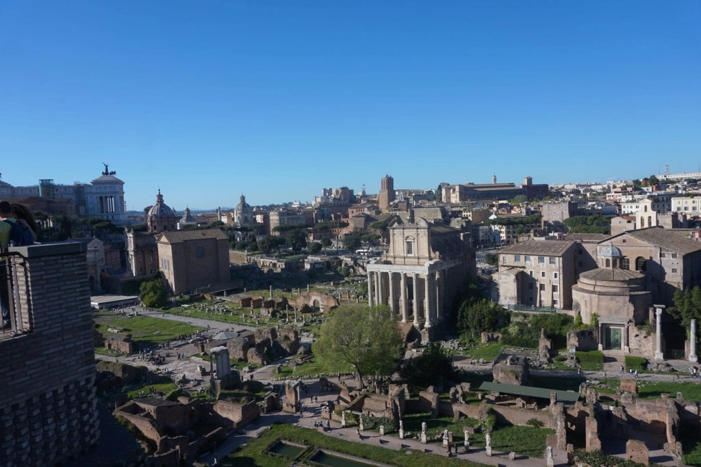 Beautiful aerial view of the Roman Forum from Palatine Hill
