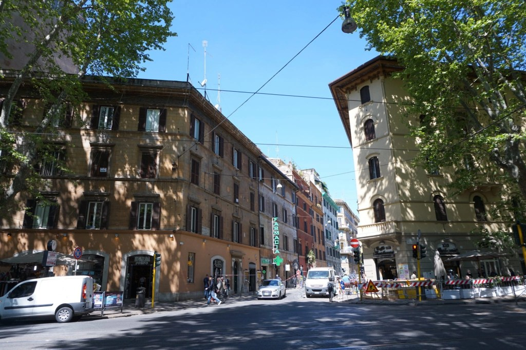 A gorgeous street corner photo of Trastevere, Rome Italy