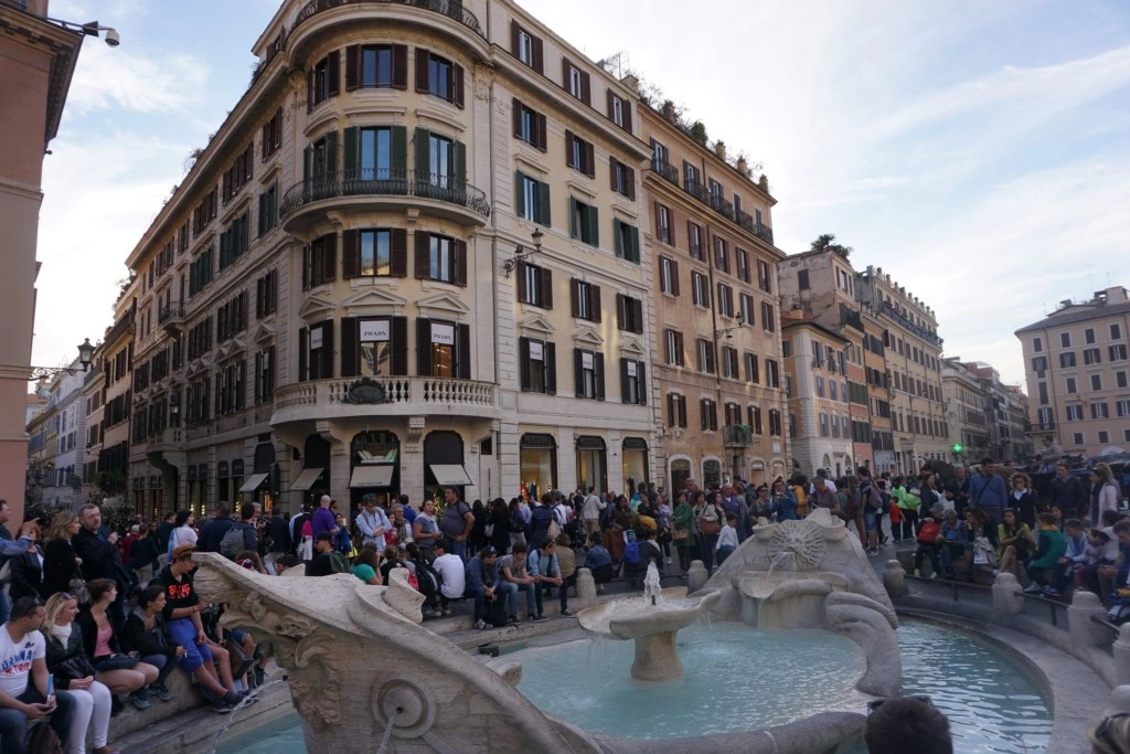 Baroque freshwater fountain-  Fontana della Barcaccia located in the Piazza di Spagna by Bernini and son- Rome Italy- Global Munchkins