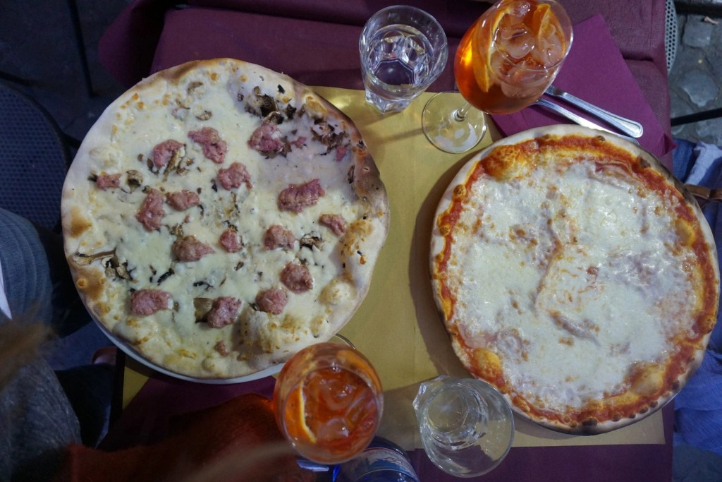 Aerial flat lay of Authentic Pizza in Italy- Global Munchkins