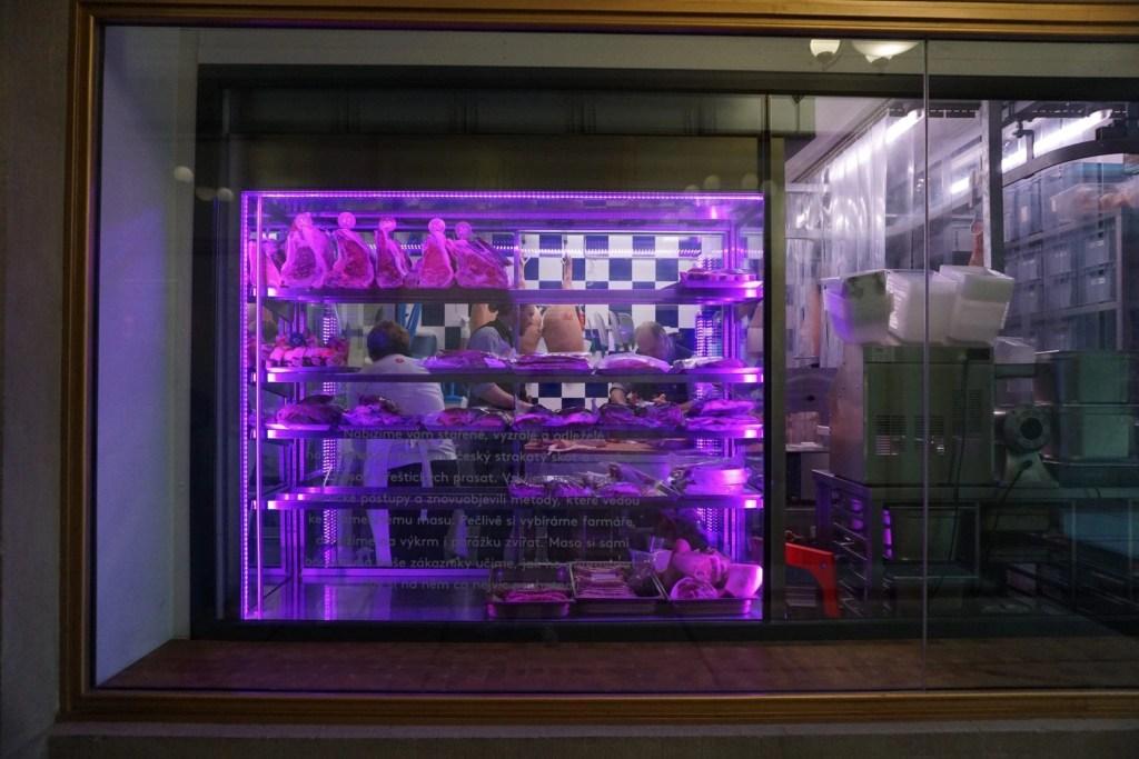 Butcher window in Prague on Eating Prague Food Tour by Global Munchkins