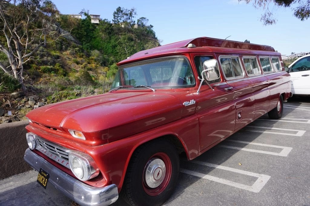 Check out this Gorgeous Red Retro Shuttle at The Ranch at Laguna Beach. My favorite Laguna Beach Resort.