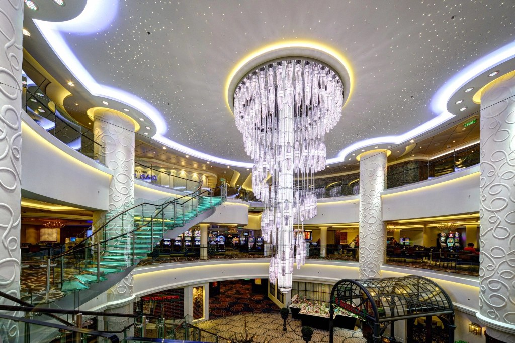 Norwegian Getaway Cruise Ship gorgeous staircase and chandelier