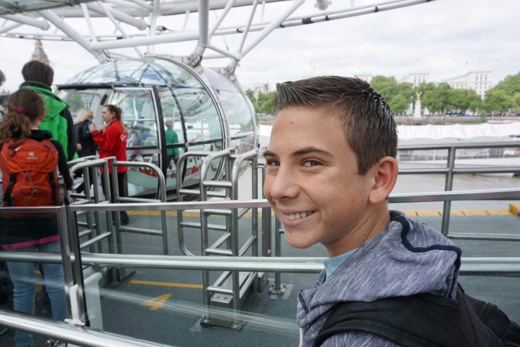 Boy about to board the London Eye | London with Kids | Global Munchkins