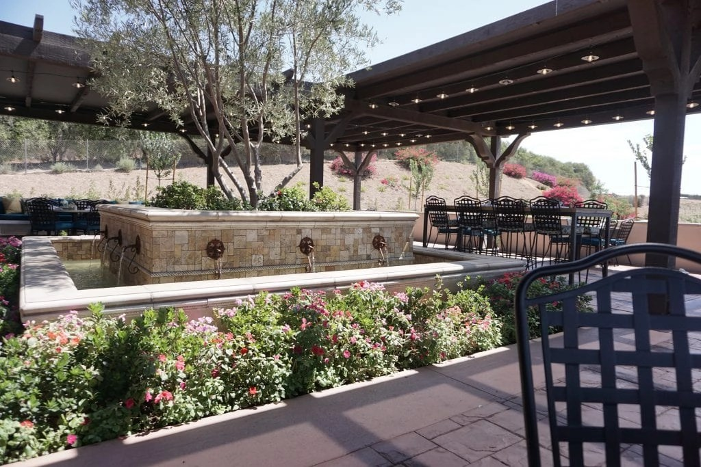 Restaurant at Avensole Winery complete with Koi filled pond. One of the newest Temecula Wineries | Global Munchkins