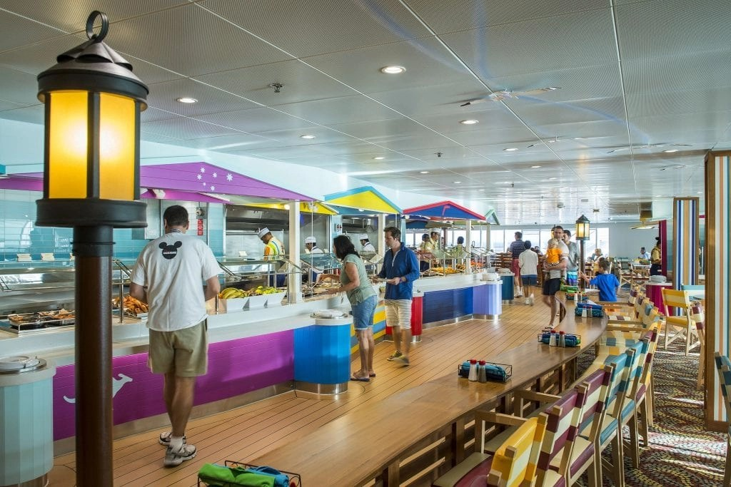 """On the Disney Magic, Cabanas offers guests a casual dining experience with food and beverage stations, breathtaking ocean views, and indoor and outdoor seating. Drawing inspiration from Australian influences with uniquely Disney touches, Cabanas creates a sunny """"down under"""" atmosphere for guests. (Matt Stroshane, photographer)"""