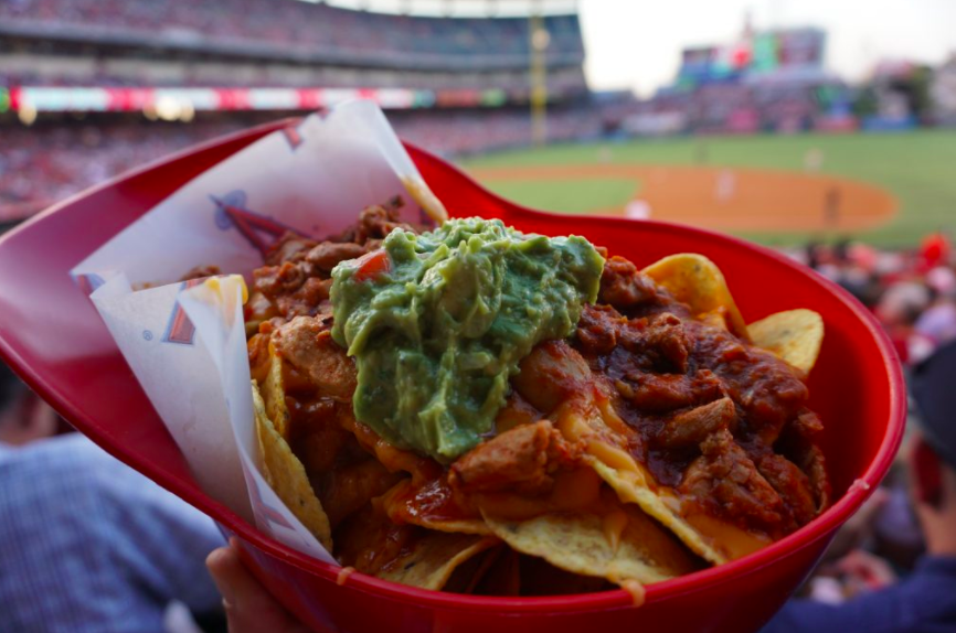 Delicious helmet nachos while watching a baseball game at the Anaheim Angels Stadium   Global Munchkins