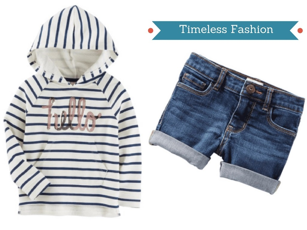 Find this adorable striped hoodie and classic denim shorts for girls at OshKosh.com