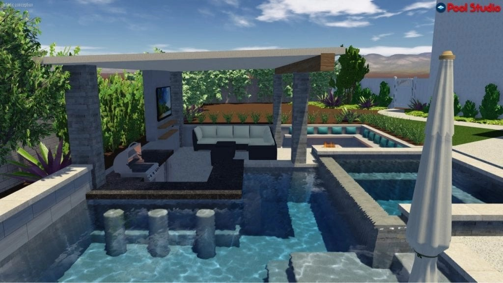beautiful in ground pool with sunken area
