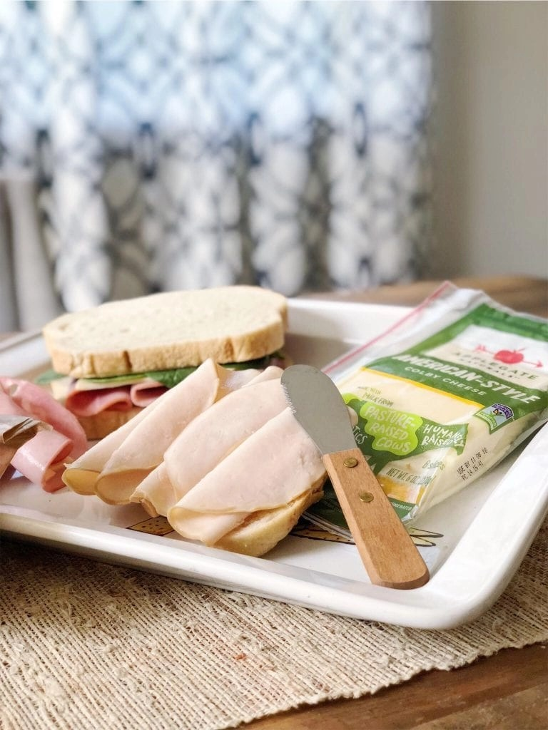 My kids' favorite school lunch sandwich aka the only one they will eat! It's my daughters recipe using Applegate Humanely Raised Meat.