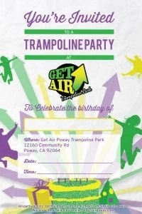 Get Air Trampoline Park Party Invites