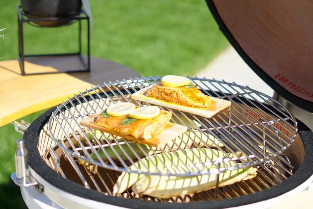 I love cooking cedar planked salmon. I found the BEST Kamado Grill that allows me to quickly grill all sorts of foods.