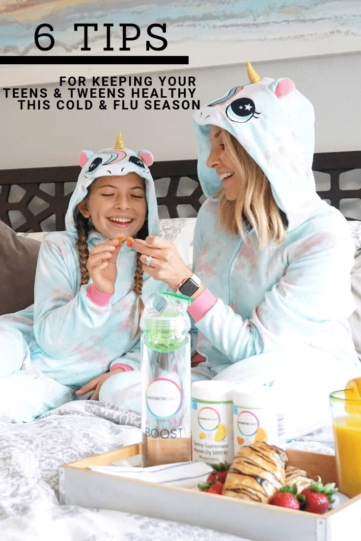 These 6 Tips will help keep your teens & tweens healthy this cold & flu season. Plus, I am also sharing the best vitamins for teens. Rainbow Light Vitamins are specifically formulated for teens and tweens. They even help promote clear skin! Plus, they are free of artificial colors, flavors, sweeteners, and preservatives too! #RainbowBoost @RainbowLight