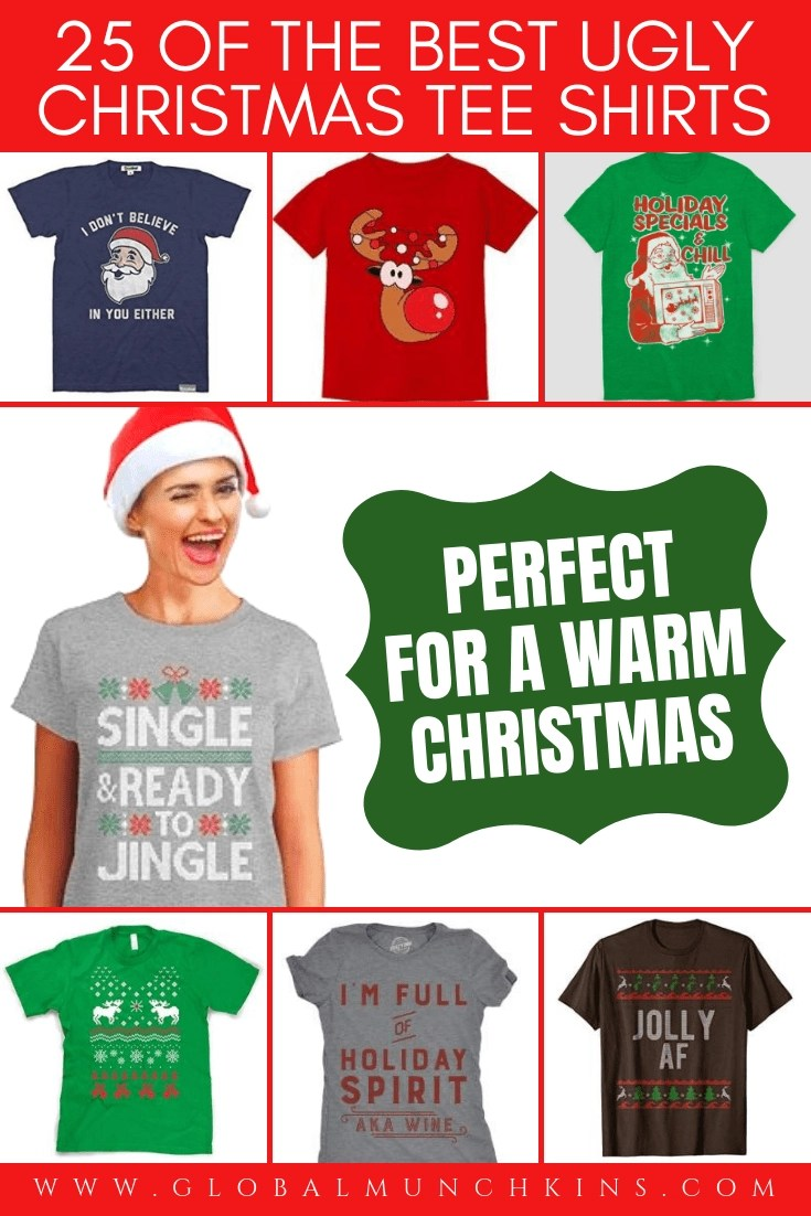 Who needs an ugly Christmas sweater when there are so many options for ugly Christmas tee shirts out there? We are ready for fake snow machines, a sandcastle snowman, holiday flavored iced coffees, and of course 25 of the best ugly Christmas tee shirts. We have all the bases covered with this list from the classics to shirts for sports lovers to the best jokes of the year. #christmas #christmastees #tees #tshirtdesign #uglychristmas #teeshirts