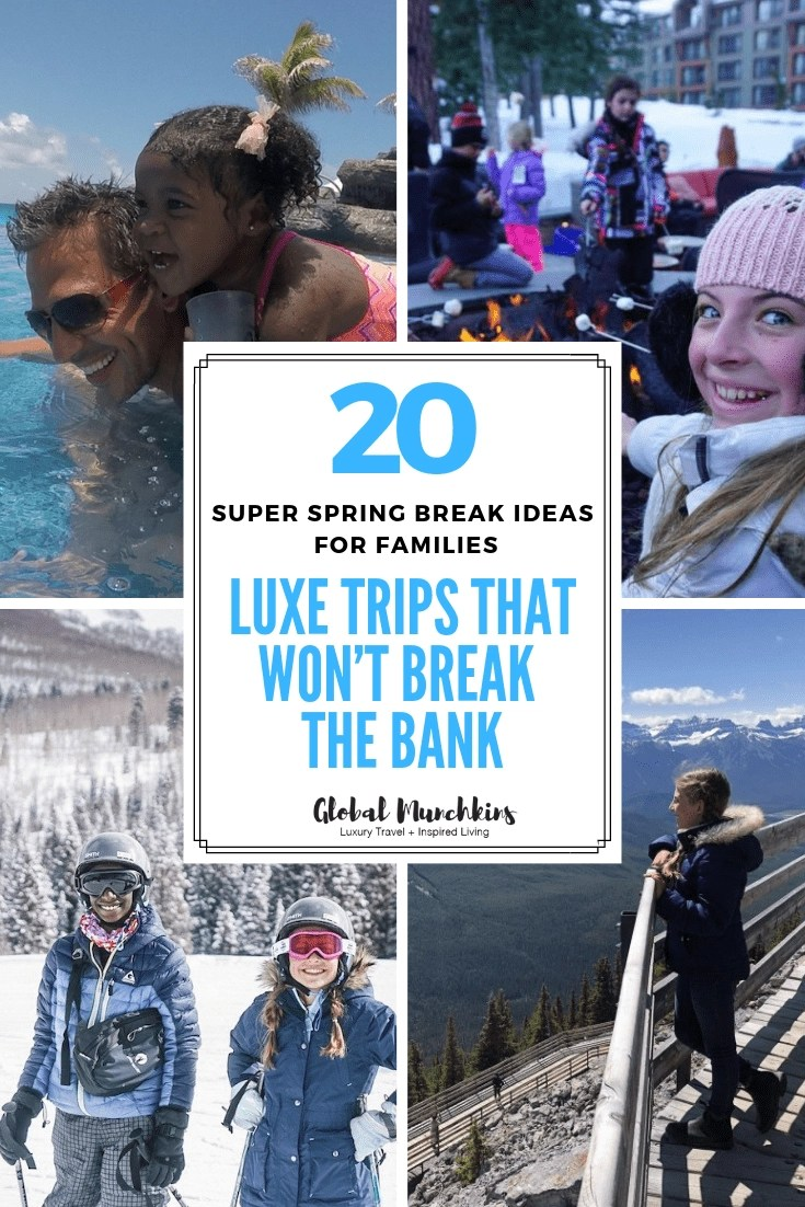 Finding the perfect spring break location can be tricky for families as college craziness takes over some of our favorite destinations. Here's a list of 20 Spring Break Ideas for Families. Whether you are looking to spend spring break with the fam on the slopes, on a beach or in a saddle and an awesome recommendation for you + tips on how to save money! #springbreak #savingmoney #travel #travelonabudget #traveltips