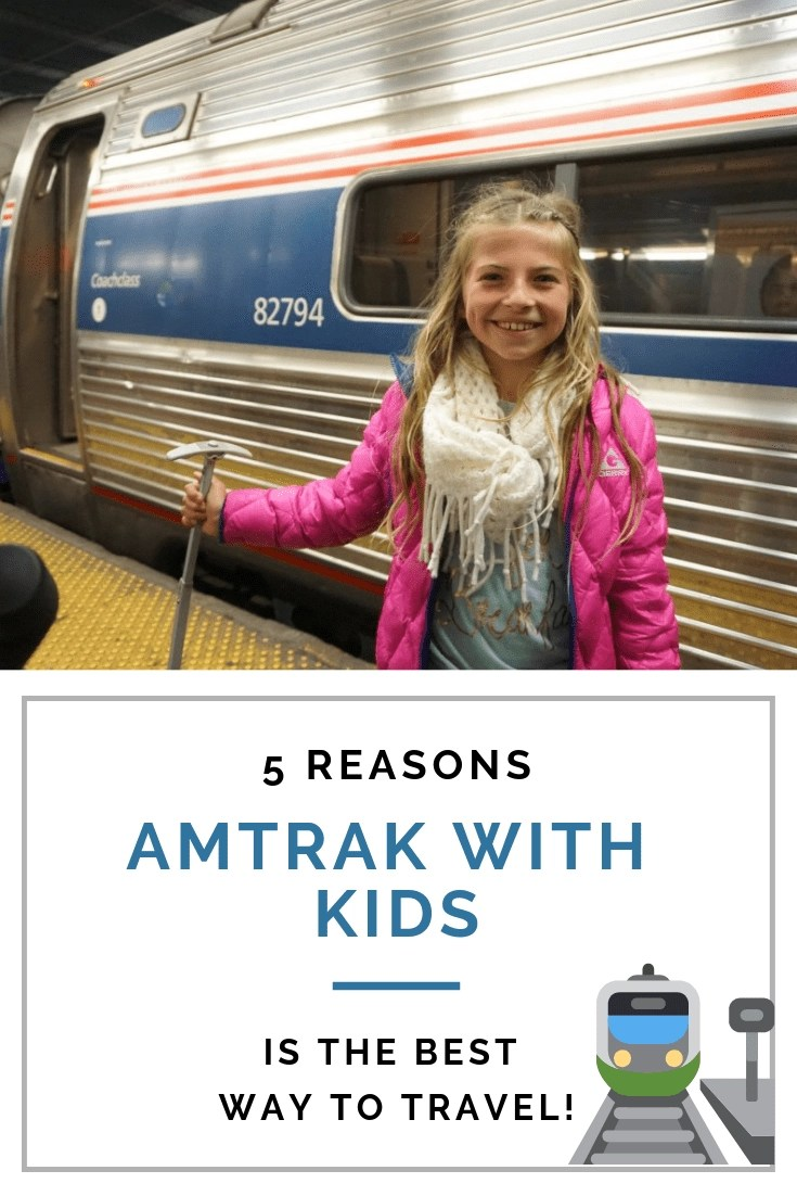 5 Reasons taking Amtrak with Kids is my Favorite way to Travel! Traveling with kids isn't easy but traveling by train definitely makes it easier. Check out my 5 Reasons Amtrak with kids is my favorite way to travel. #traintravel #amtrak