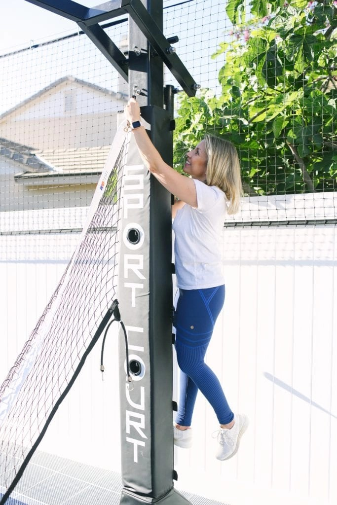 Our Sport Court is designed with so many awesome features like this built-in kickstand that makes it easy to hang up the net.