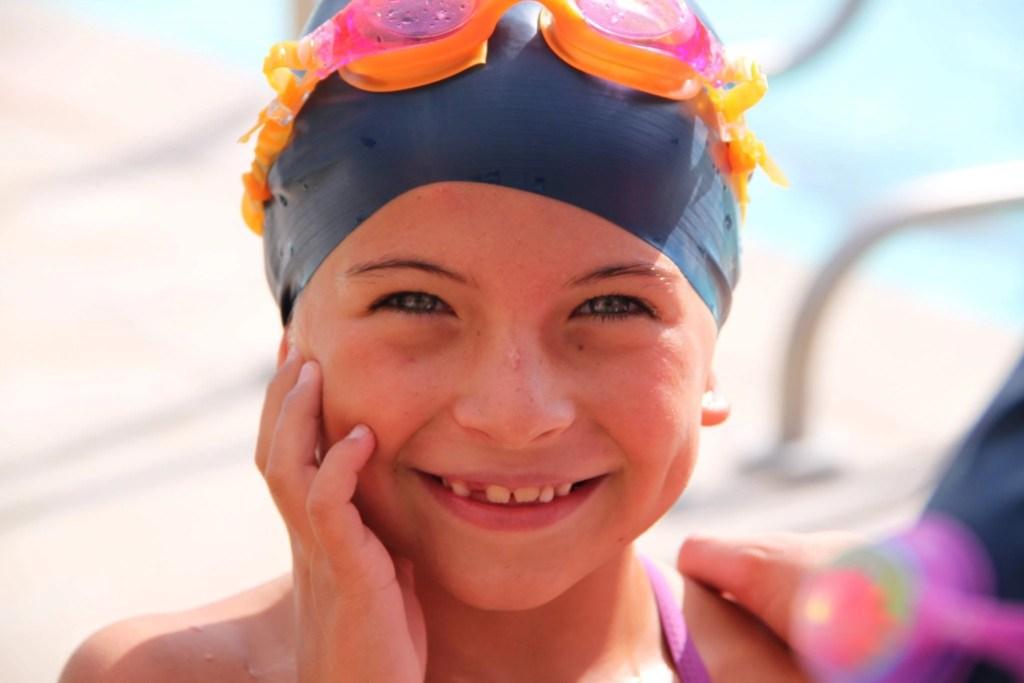 Swim cap on a cute little girl